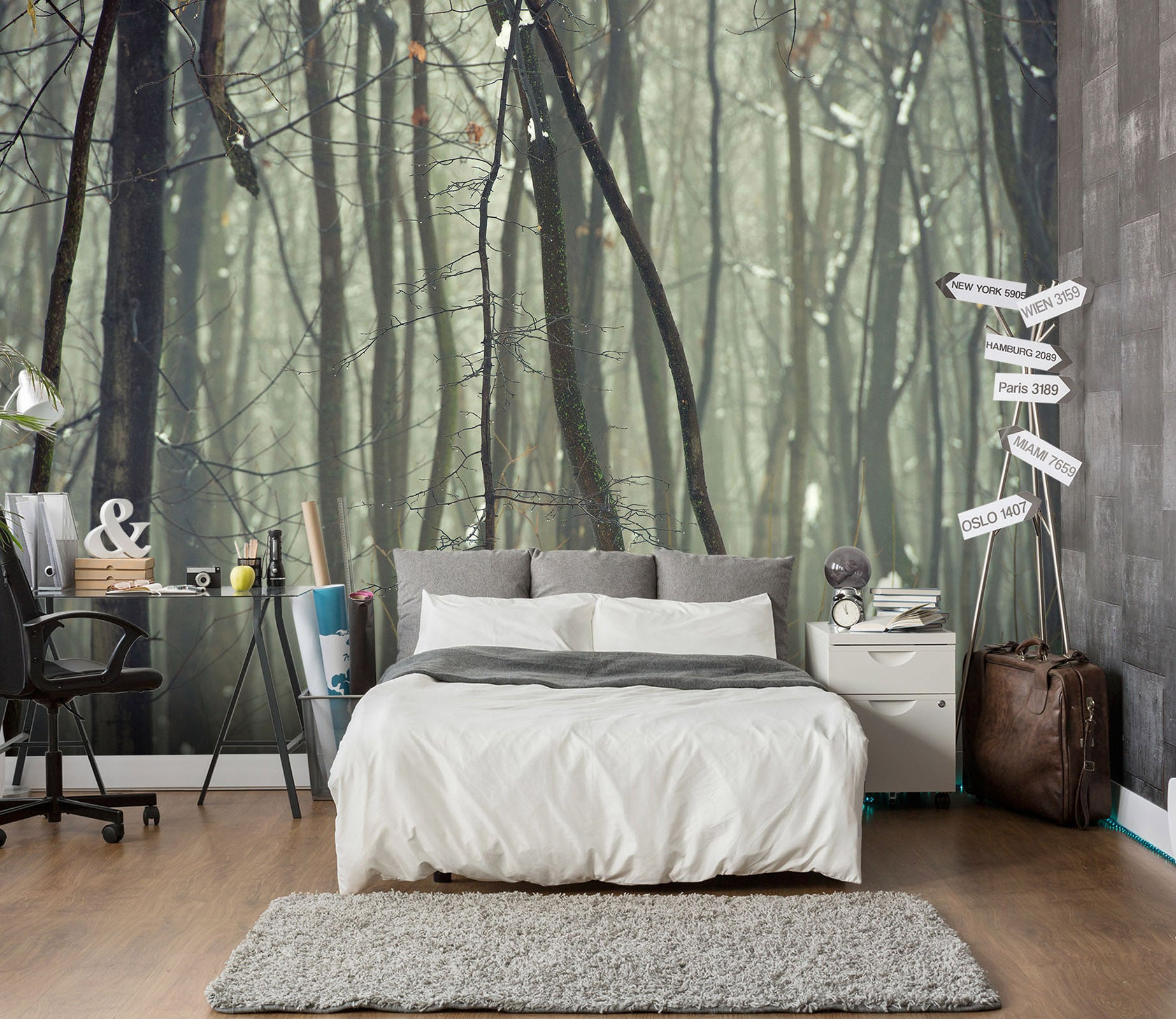 3D Dead Tree Snow 127 Wall Murals
