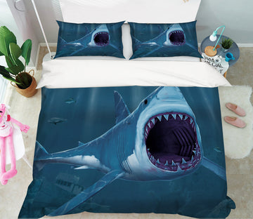 3D Shark Bite 078 Bed Pillowcases Quilt Exclusive Designer Vincent