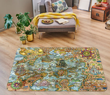 3D Valley River 293 World Map Non Slip Rug Mat