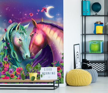 3D Two Horses 1424 Rose Catherine Khan Wall Mural Wall Murals