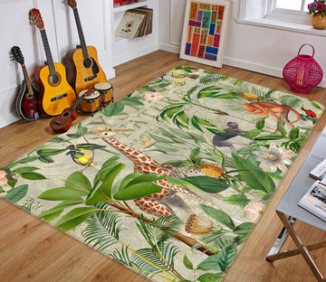 3D Animal Family 1040 Andrea haase Rug Non Slip Rug Mat Mat AJ Creativity Home