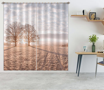 3D Sunset Tree Shadow 083 Assaf Frank Curtain Curtains Drapes