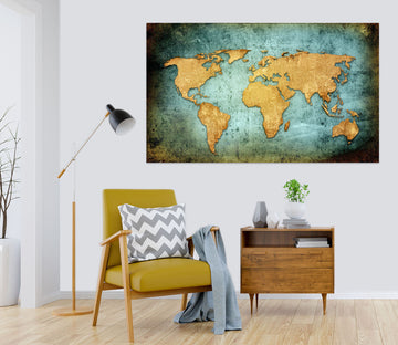3D Abstract Pattern 119 World Map Wall Sticker