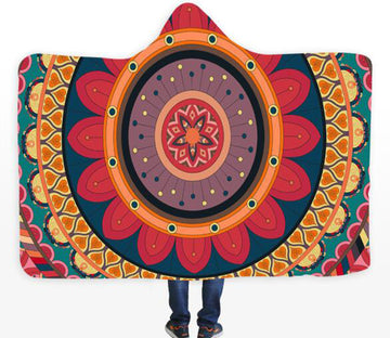 3D Flower Circle 080 Hooded Blanket