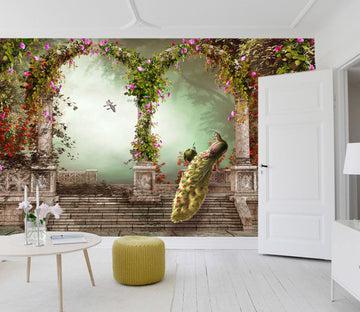 3D Arch Peacock 019 Wall Murals Wallpaper AJ Wallpaper 2