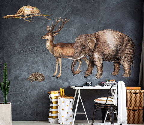 3D Antelope And Elephant 016 Animals Wall Stickers Wallpaper AJ Wallpaper