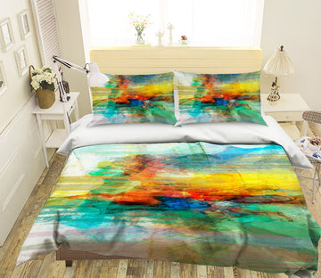3D Abstract Yellow Pattern 1034 Michael Tienhaara Bedding Bed Pillowcases Quilt