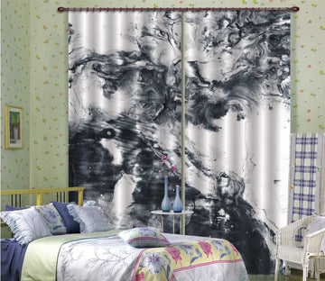 3D Abstract Black Painting 34 Curtains Drapes Curtains AJ Creativity Home