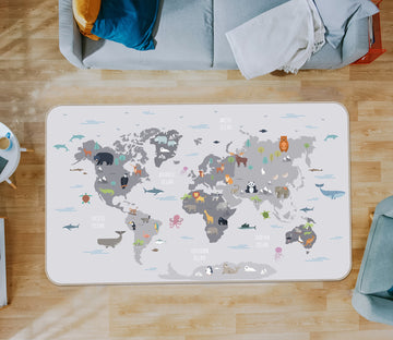 3D Grey Abstract 285 World Map Non Slip Rug Mat
