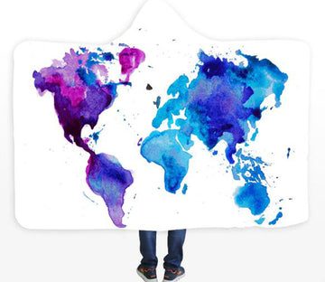3D Purple World Map 588 Hooded Blanket