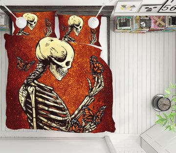 3D Skull Butterfly 113 David Lozeau Bedding Bed Pillowcases Quilt