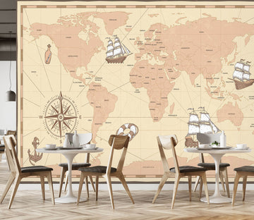 3D Nautical Route 2001 World Map Wall Murals