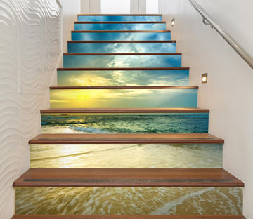 3D Light And Blue Ocean 626 Stair Risers