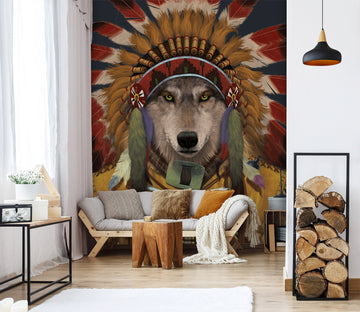 3D Wolf Spirit Chief 1573 Wall Murals Exclusive Designer Vincent