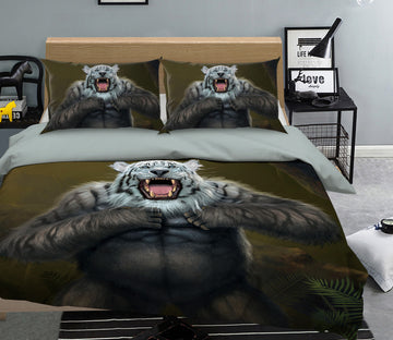 3D Tigerilla White Tiger Version 090 Bed Pillowcases Quilt Exclusive Designer Vincent