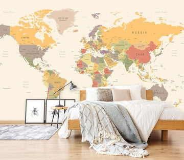 3D Yellow World Map 1127 Wall Murals
