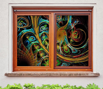 3D Abstract Art 315 Window Film Print Sticker Cling Stained Glass UV Block