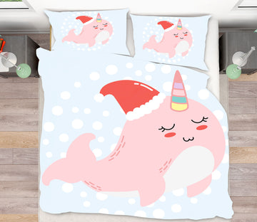 3D Pink Whale 64018 Bed Pillowcases Quilt