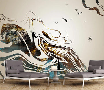 3D Black Ink Pattern WC673 Wall Murals