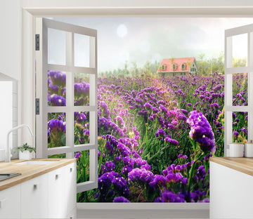 3D Window Purple Flower 143 Wall Murals
