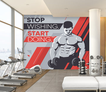 3D Abdominal Muscle Dumbbell 095 Wall Murals Wallpaper AJ Wallpaper 2