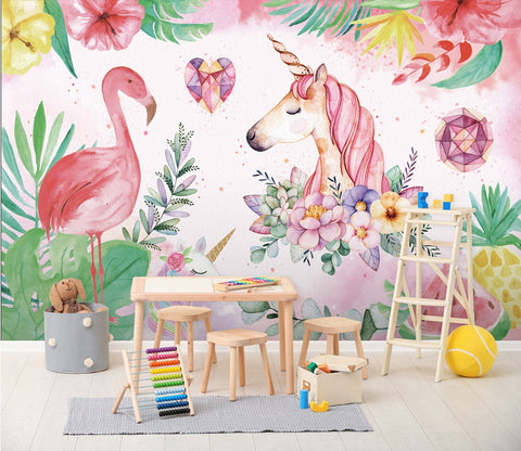 3D Cartoon Red-Crowned Crane with unicorn 08 Wall Murals