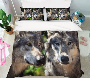 3D Wild Wolf 1956 Bed Pillowcases Quilt