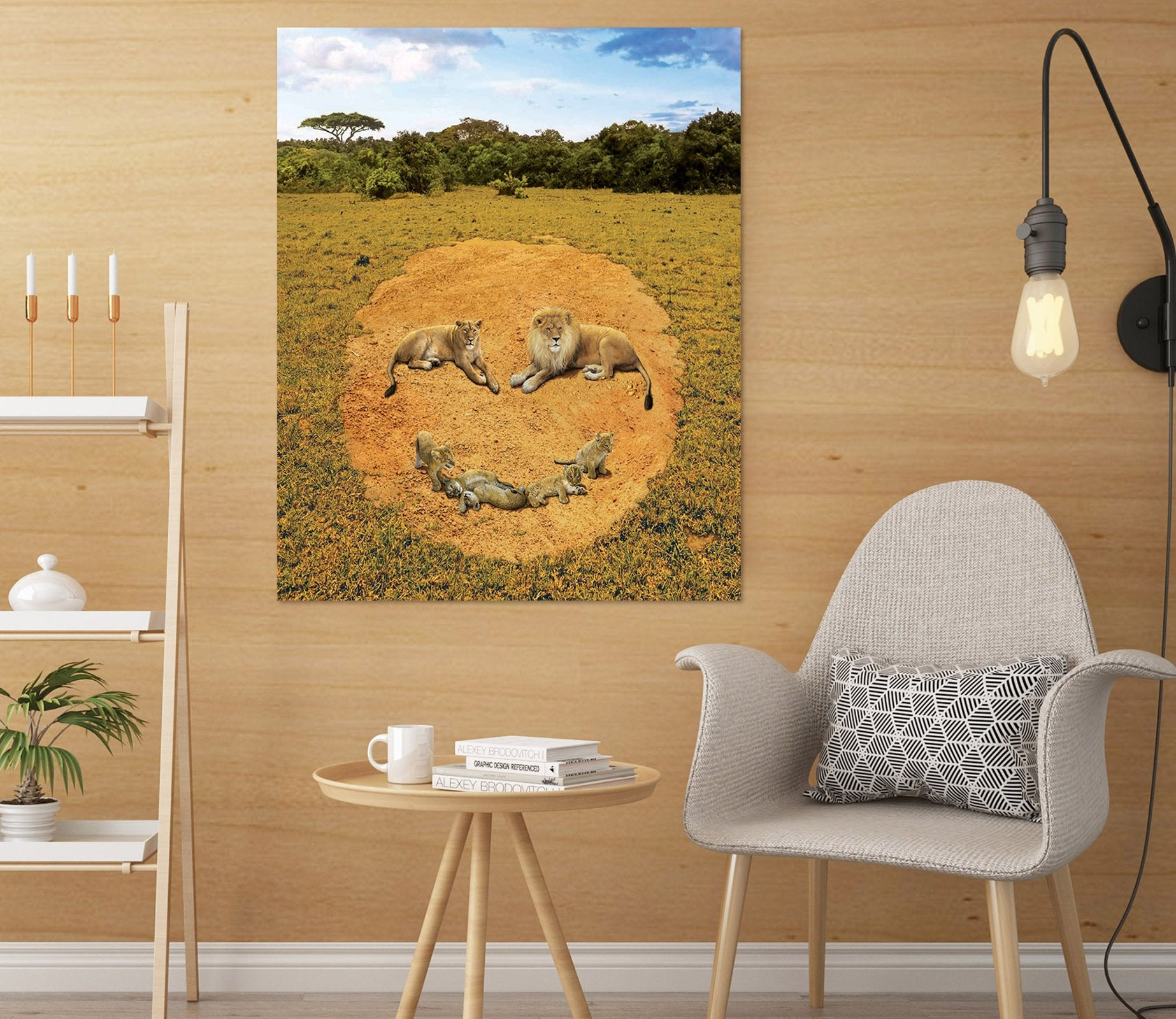 3D A Lion's Happiness Def 004 Vincent Hie Wall Sticker