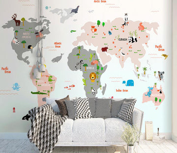 3D World Map 044 Wall Murals