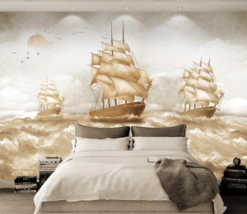 3D Ship Waves WC1408 Wall Murals