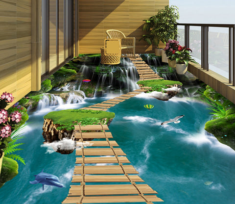 3D Alpine Wooden Bridge WG630 Floor Mural Wallpaper AJ Wallpaper 2