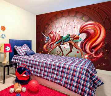 3D Red Unicorn 101 Rose Catherine Khan Wall Mural Wall Murals