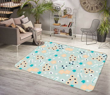 3D Colored Flowers 1106 Jillian Helvey Rug Non Slip Rug Mat