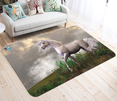 3D White Unicorn 01 Non Slip Rug Mat Mat AJ Creativity Home