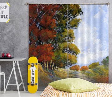 3D Autumn Forest 216 Michael Tienhaara Curtain Curtains Drapes