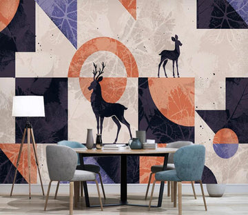 3D Black Deer Above Geometry 2587 Wall Murals