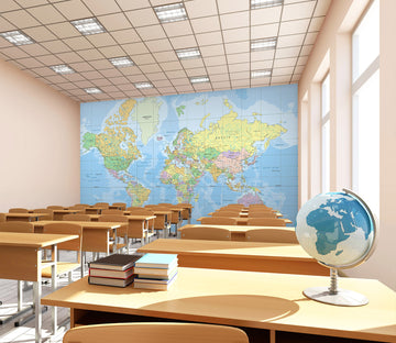 3D World Map 174 Wall Murals
