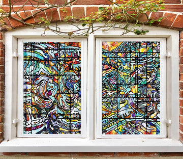 3D Abstract Graffiti 184 Window Film Print Sticker Cling Stained Glass UV Block