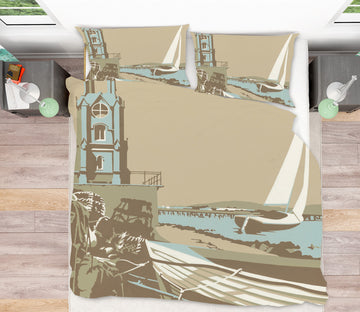 3D Swanage Tower 2072 Steve Read Bedding Bed Pillowcases Quilt