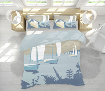 3D Sandbanks And The Purbecks 2051 Steve Read Bedding Bed Pillowcases Quilt
