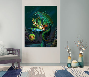 3D Green Dragon 122 Rose Catherine Khan Wall Sticker