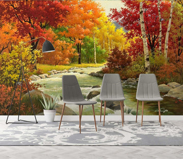 3D Autumn Landscape 024 Wall Murals Wallpaper AJ Wallpaper 2