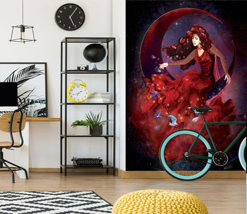 3D Red Girl 1419 Rose Catherine Khan Wall Mural Wall Murals