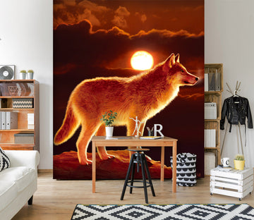3D Sunset Wolf 1554 Wall Murals Exclusive Designer Vincent