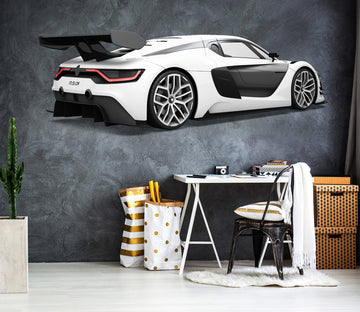 3D FP White Sports Car 0175 Vehicles Wallpaper AJ Wallpaper