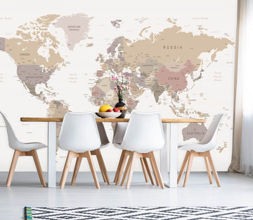 3D Pink World Map 1128 Wall Murals
