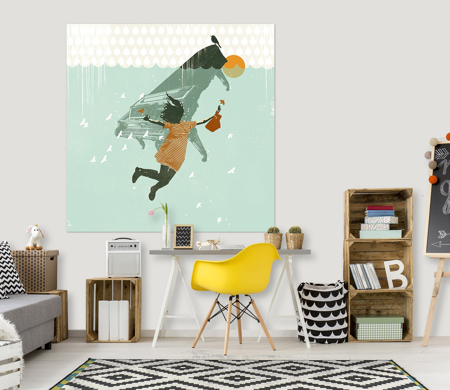 3D Swimming In The Water 029 Showdeer Wall Sticker
