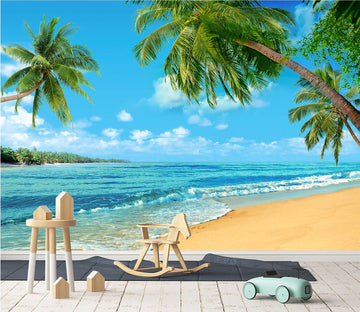 3D Sand Beach Green Coconut Tree 56 Wallpaper AJ Wallpaper