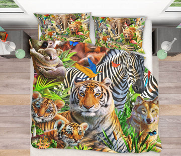 3D Animal World 2130 Adrian Chesterman Bedding Bed Pillowcases Quilt Quiet Covers AJ Creativity Home