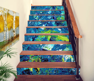 3D Blue And Green Distribution 614 Stair Risers